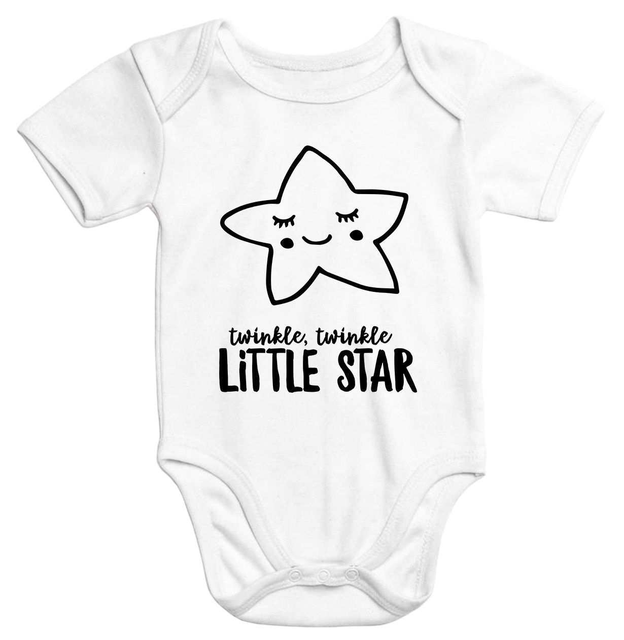 Baby Body Mit Stern Aufdruck Twinkle Twinkle Little Star Bio Baumwolle Kurzarm Moonworks Baby Body Spruche Baby Klamotten Madchen Babybody
