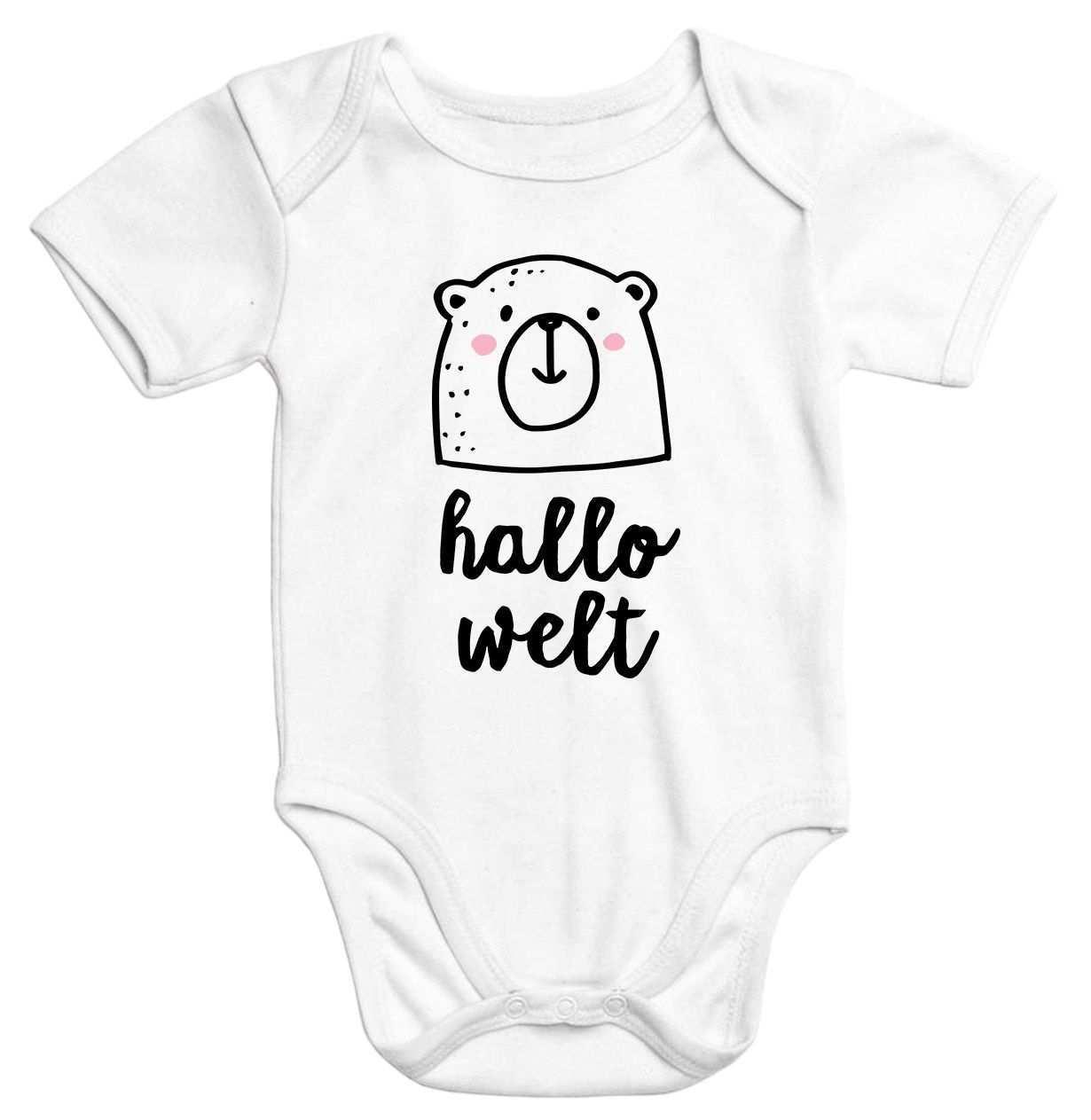 Kurzarm Baby Body Hallo Welt Bar Hello World Bear Einteiler Bio Baumwolle Moonworks Baby Body Spruche Baby Babybody