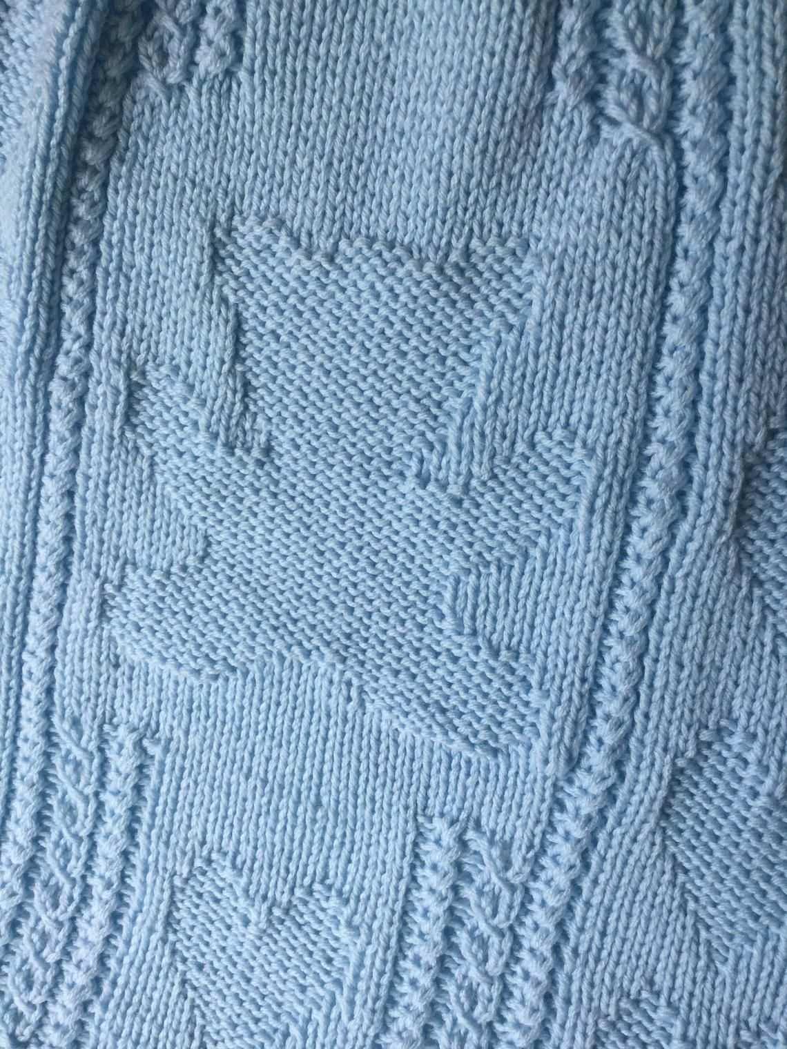 Teddy Bar Herz Baby Decke Blau Baby Decke Hand Stricken Etsy Coperta Del Bambino Orsacchiotto Modello Di Cuore