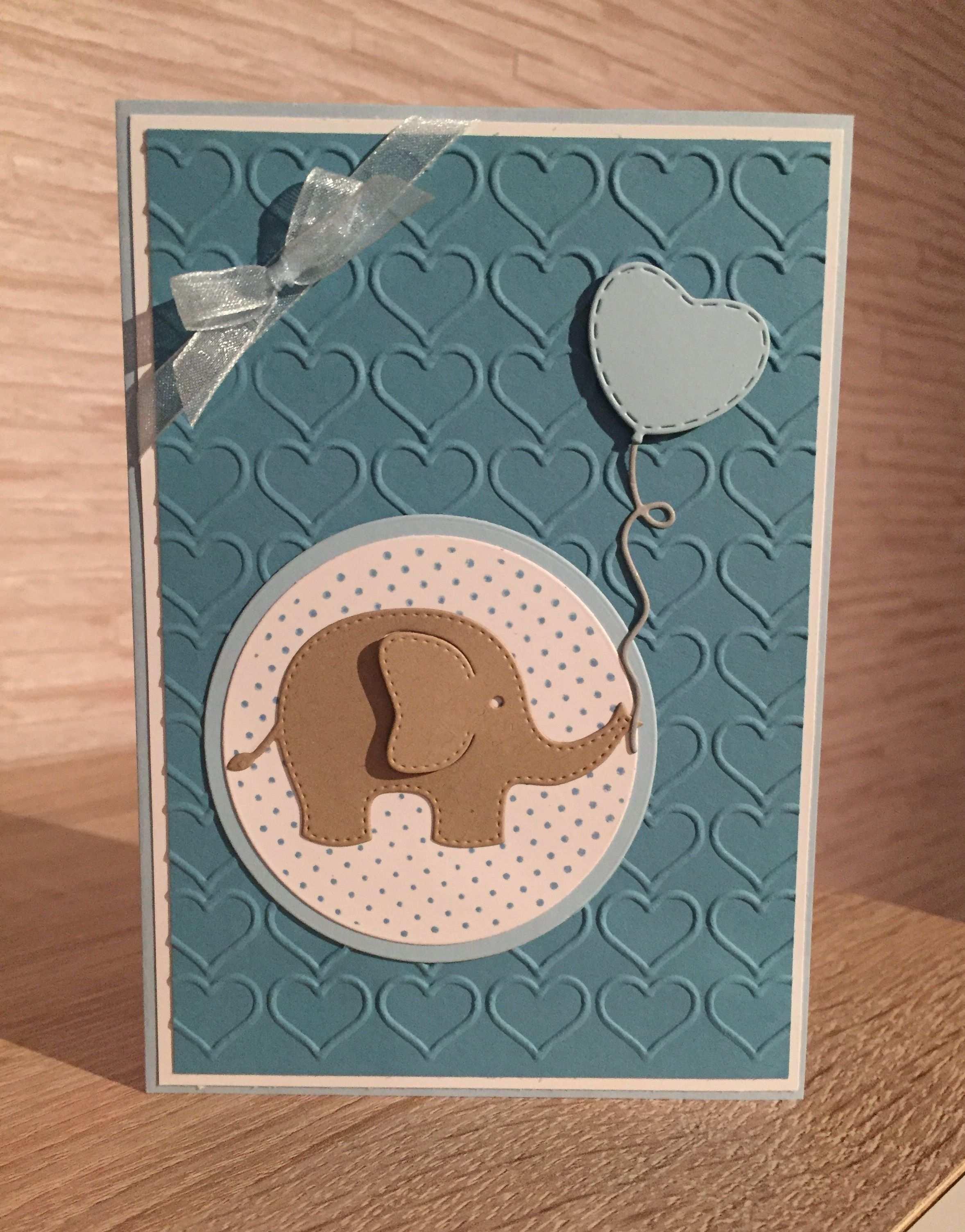 Karte Zur Geburt Elefant Blau Stampin Up Herz Ozeanblau Savanne Luftballon Http Papierbastelei Sar Karten Basteln Geburt Karte Geburt Geburtskarten
