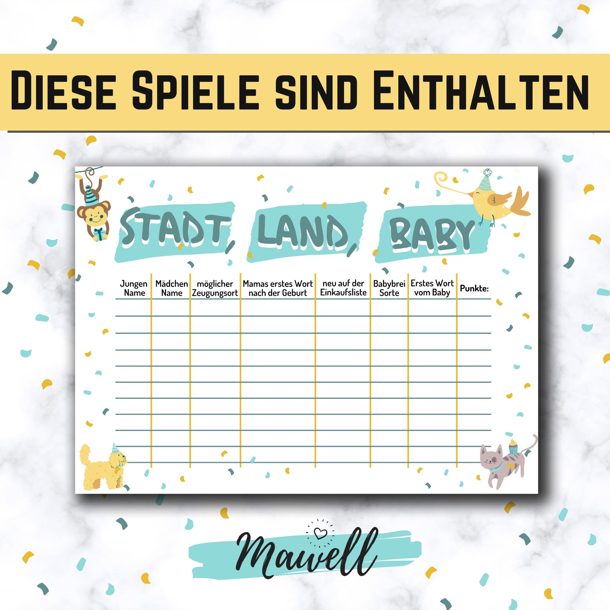 9 1 Babyparty Spiele Vorlagen Als Pdf Zum Sofort Download Und Ausdrucken Babyshower Games Baby Party Ideen Auf Deutsch Bullet Journal Journal