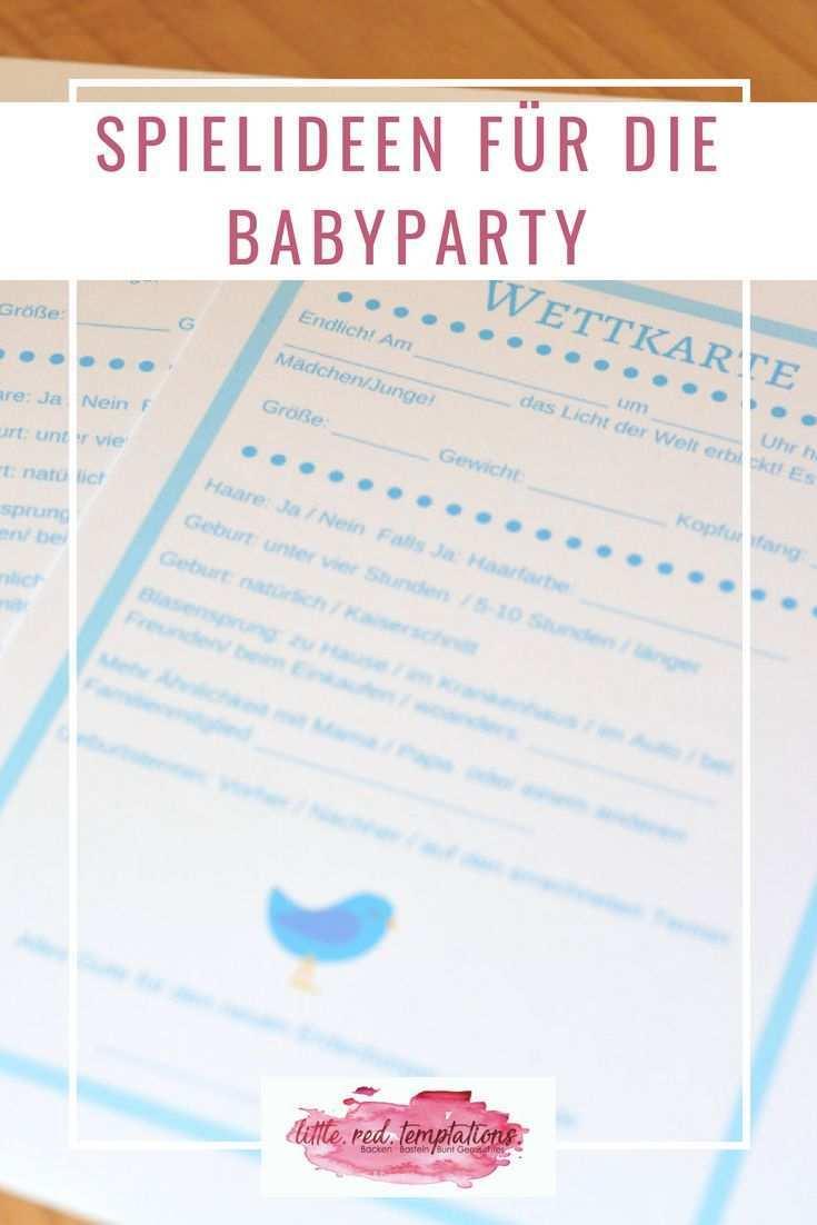 Babyparty Spielideen Und Freebies Zum Ausdrucken Little Red Temptations Babyparty Baby Shower Spiele Babyparty Basteln