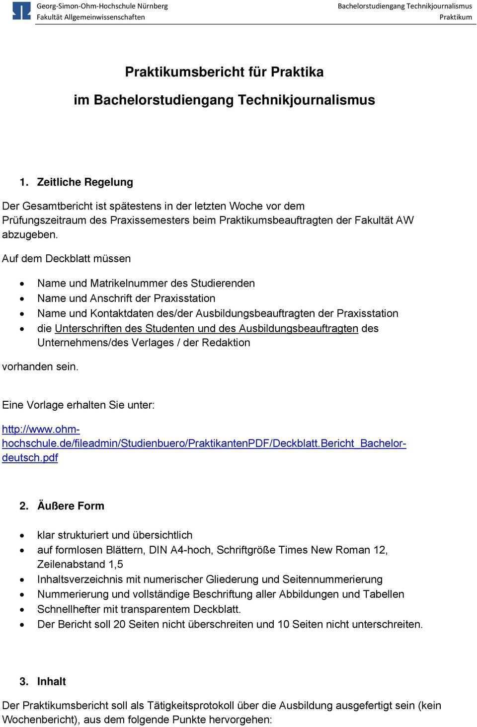 Praktikum Praktikumsbericht Bachelorstudiengang Technikjournalismus Btj Ansprechpartner Pdf Free Download