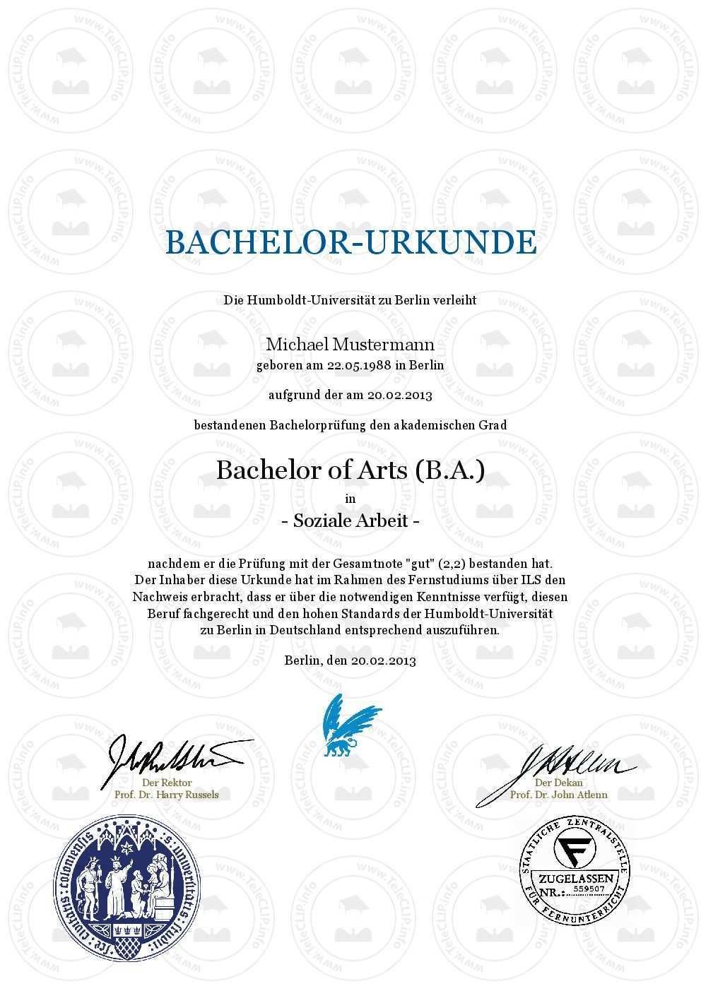 Bachelor Urkunde Humboldt Universitat Zu Berlin Reproduktion Nach Aktueller Vorlage Bachelor Urkunde Einfach Online Kaufen Hum Bachelor Meisterbrief Urkunde
