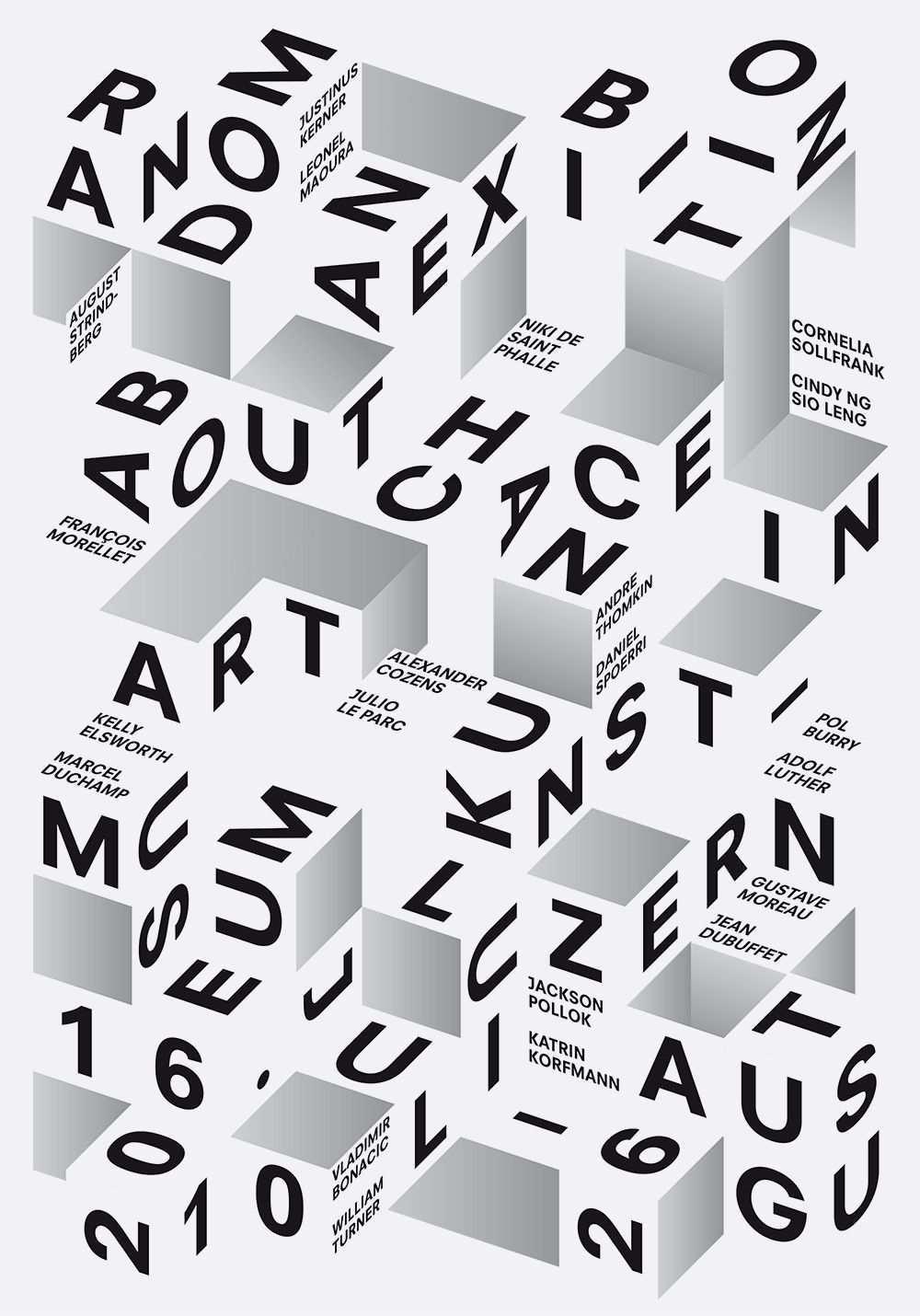 Poster Typography Random Poster Designed By Felix Pfaffli 2010 3d Type Mit Bildern Grafikdesign Typografie Typografische Gestaltung Typografie Poster