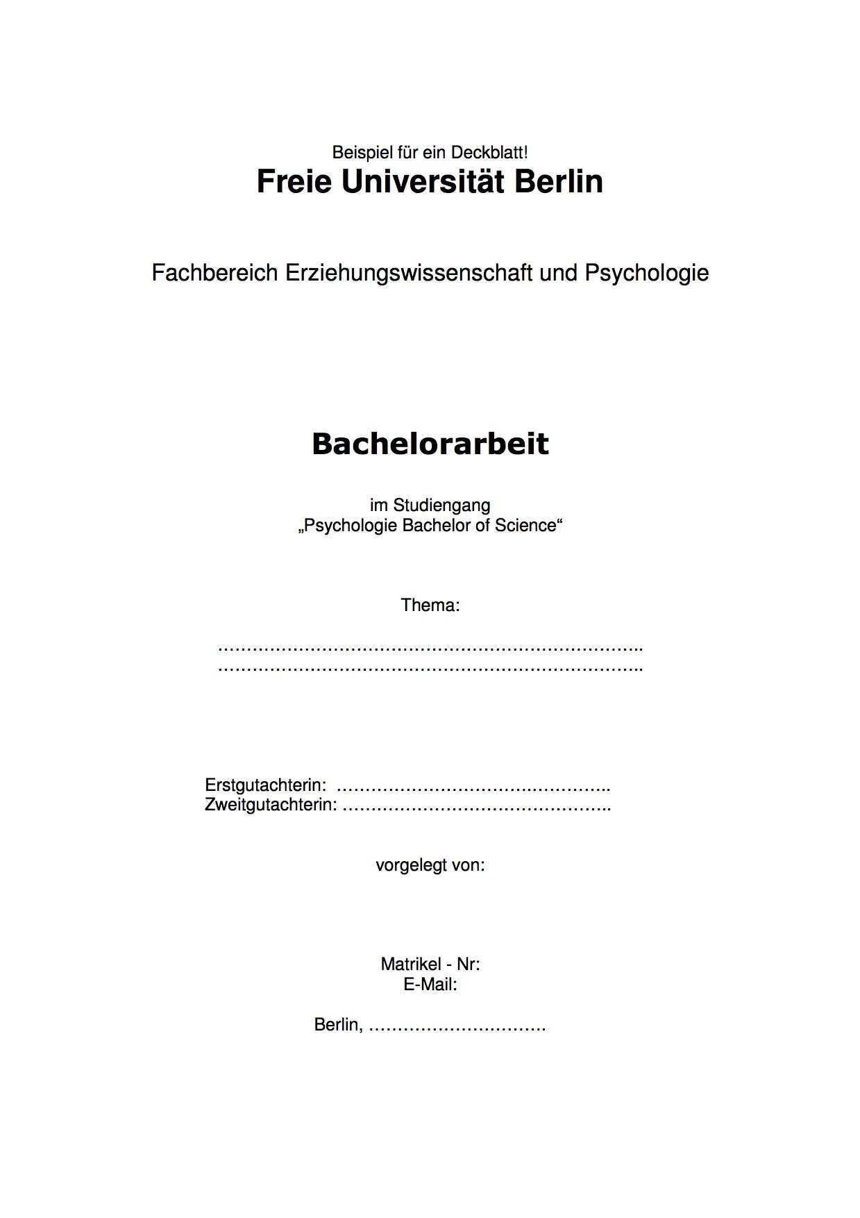 Tipps Erstellung Gestaltung Vom Deckblatt Einer Bachelorarbeit