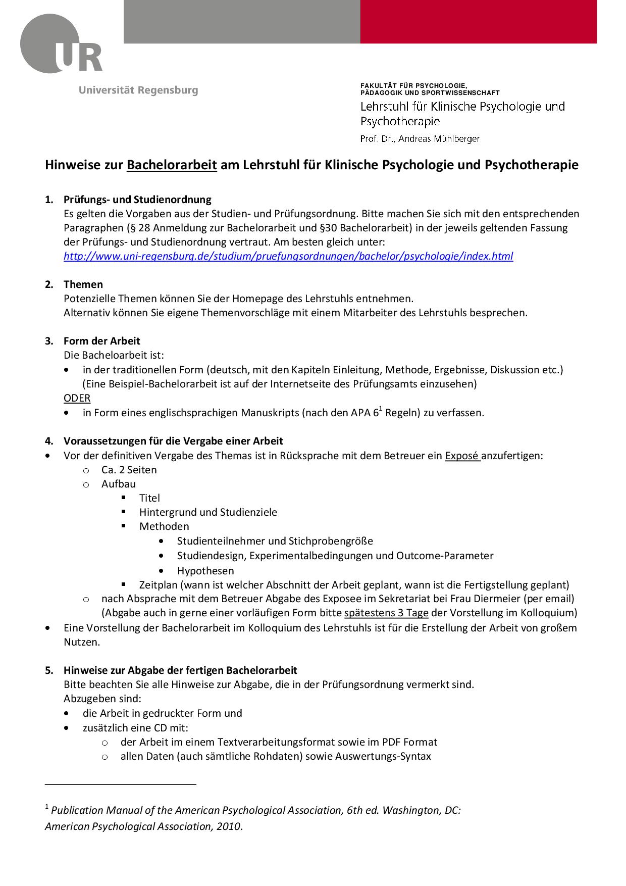 Hinweise Bachelorarbeit Klinische Psychologie Psychotherapie Uni Regensburg Docsity
