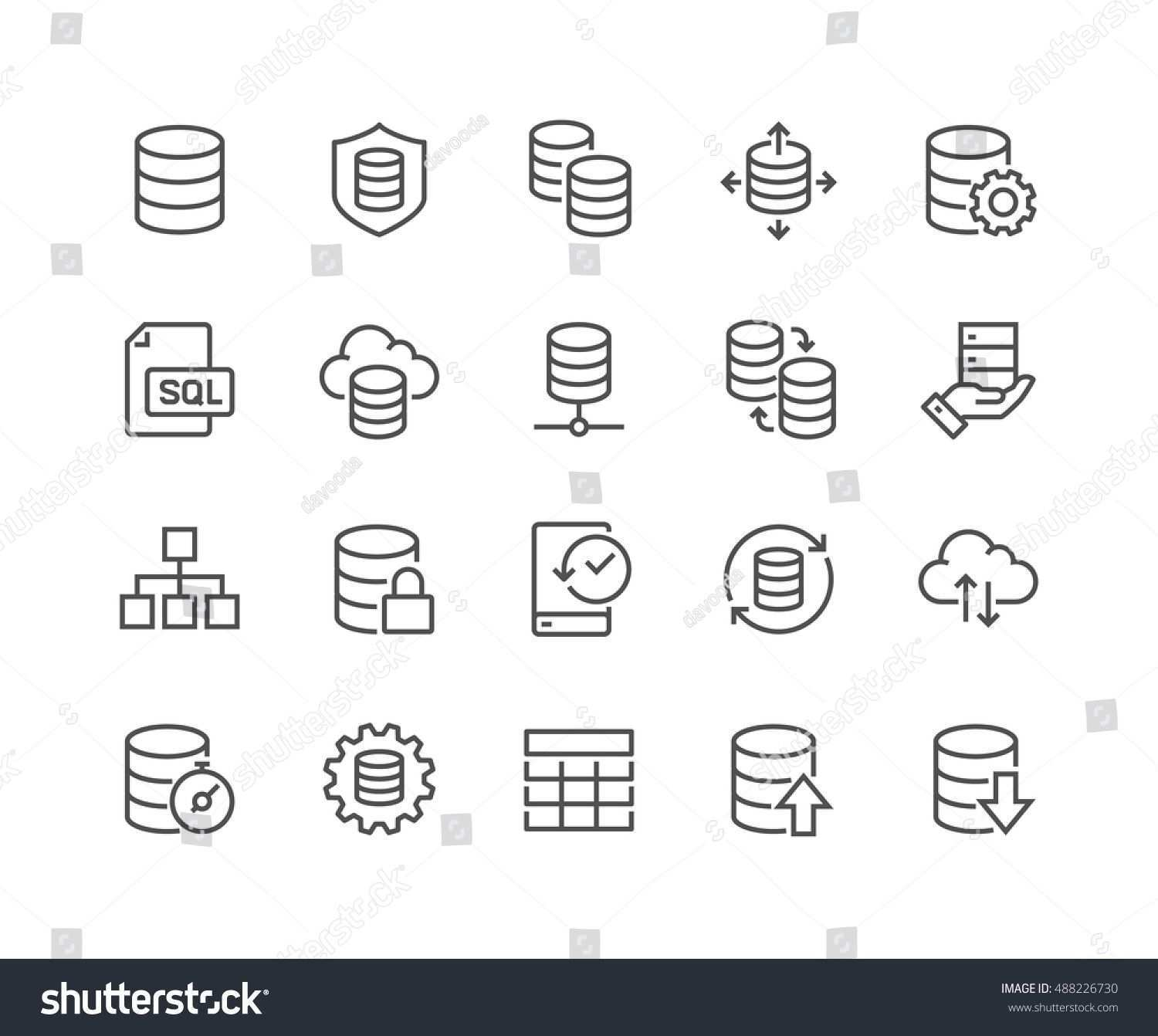 Simple Set Of Database Related Vector Line Icons Ncontains Such Icons As Backup Structure Data Transfer And More A Vector Template Design Wedding Vector