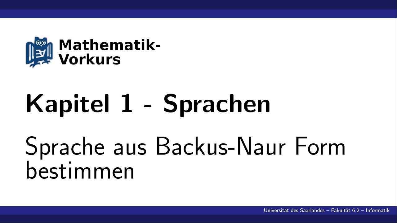 K1 Sprache Aus Backus Naur Form Bestimmen Youtube