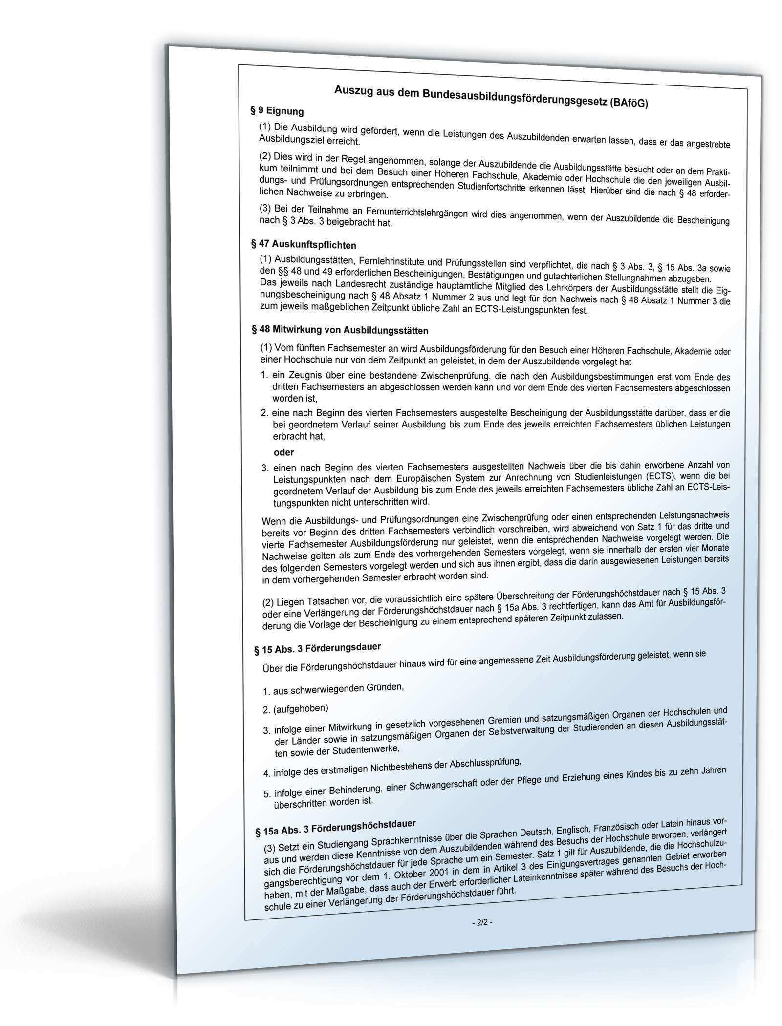 Leistungsbescheinigung Nach 48 Bafog Formular Zum Download