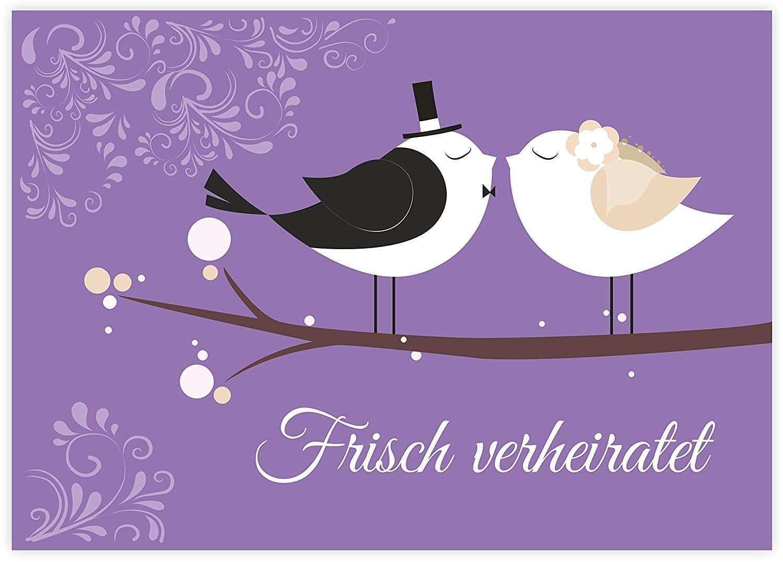 Ballonflugkarten Mit Hubschen Vogel Brautpaar Im Art Deco Stil Beidseitig Bedruckt Auf Hochwertigem Glanzpapier Wet Hochzeit Spiele Hochzeitsspiele Hochzeit