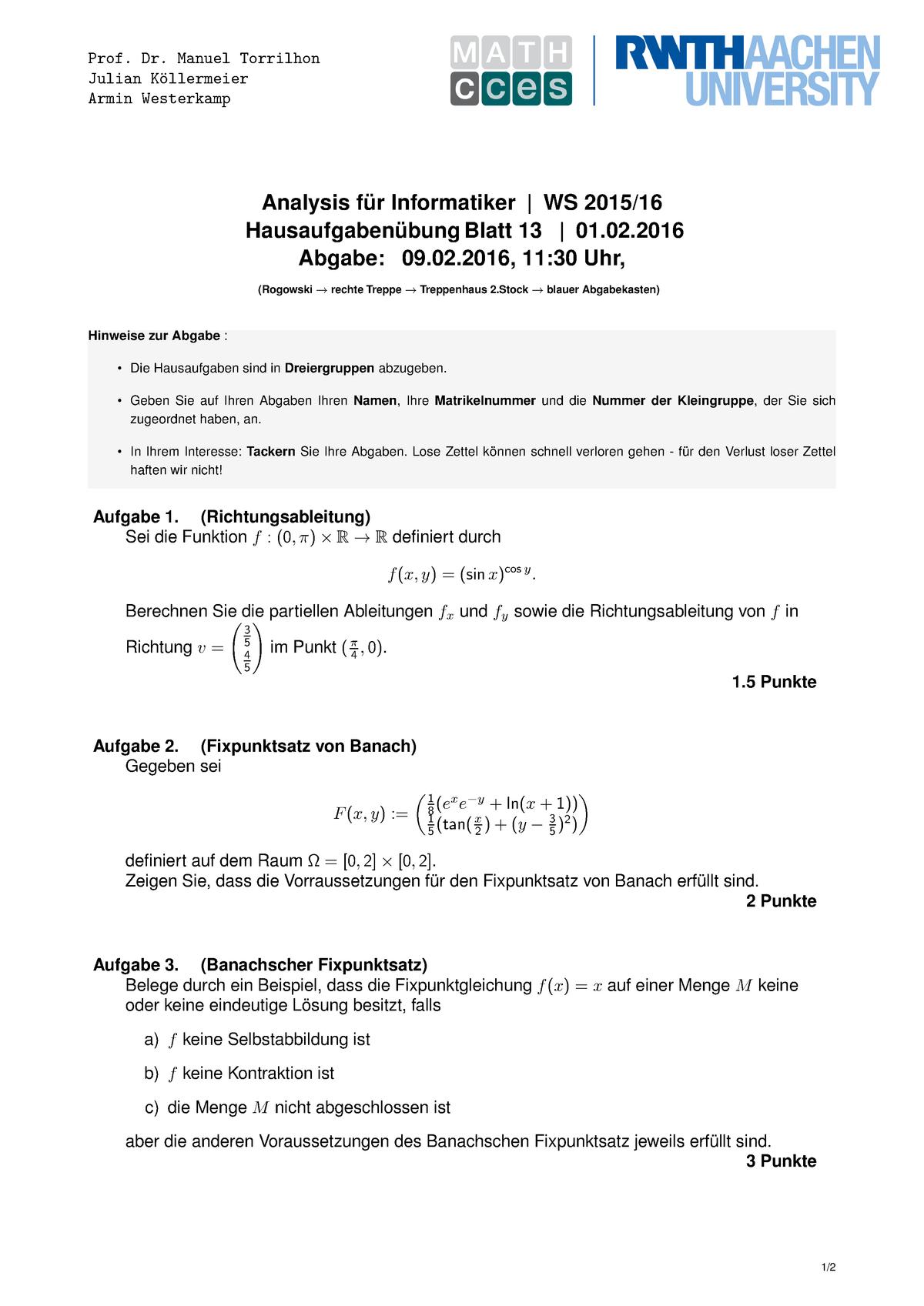 Ueb 13 Prof Dr Manuel Torrilhon Julian Kollermeier Armin Westerkamp Studocu