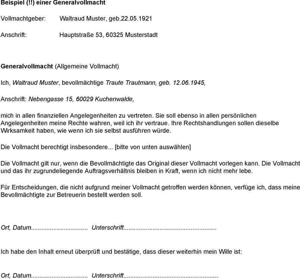 Beispiel Einer Generalvollmacht Hauptstrasse 53 Musterstadt Generalvollmacht Allgemeine Vollmacht Pdf Free Download