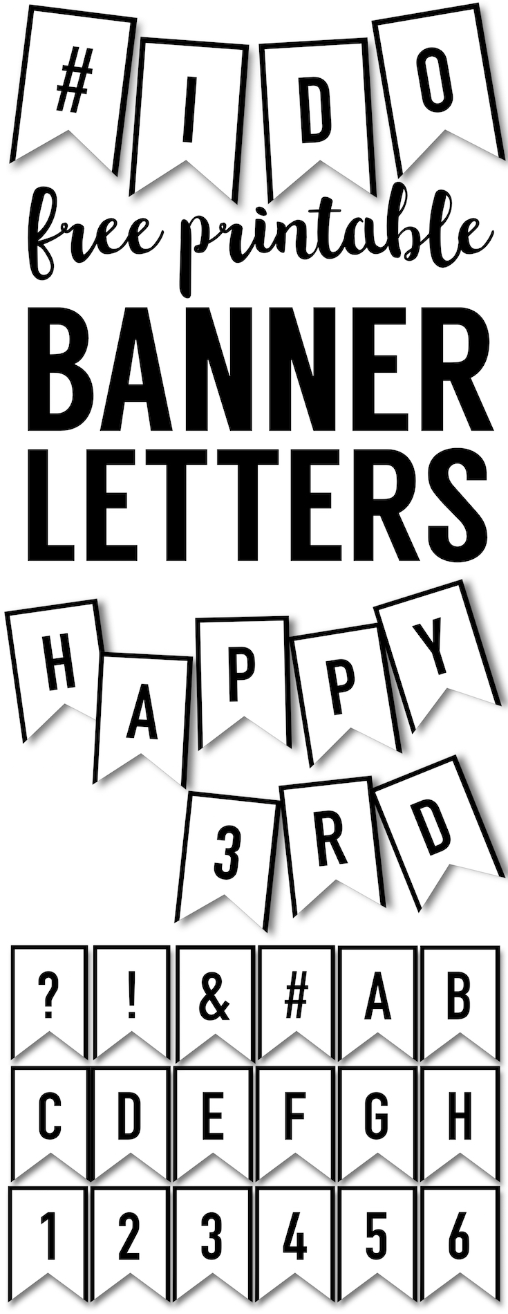 Banner Templates Free Printable Abc Letters Paper Trail Design In 2020 Free Printable Abc Letters Printable Birthday Banner Printable Abc Letters