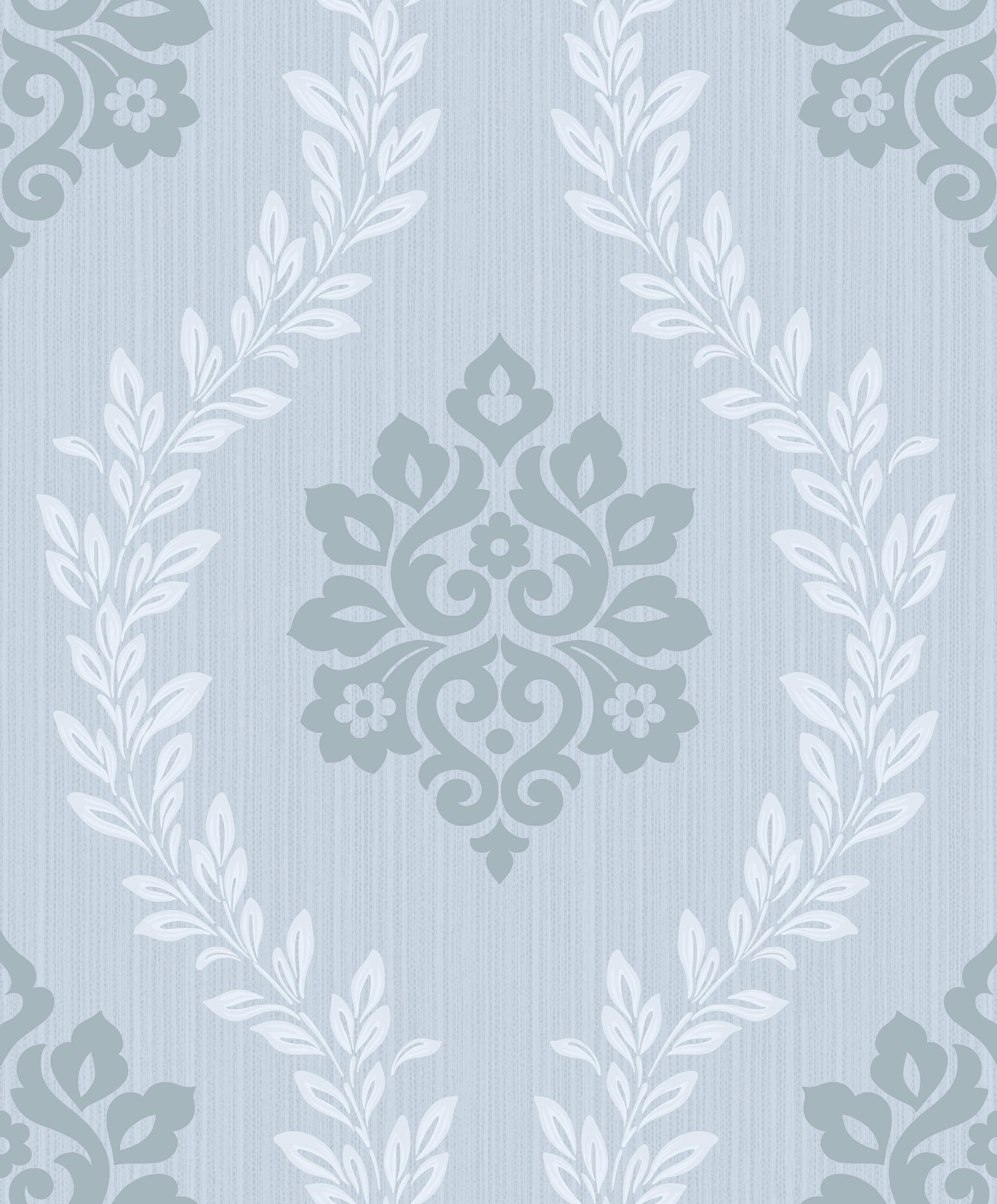 Vliestapete Barock Ornament Pastellblau Glanz Barock Tapete Tapeten Hochwertige Tapeten