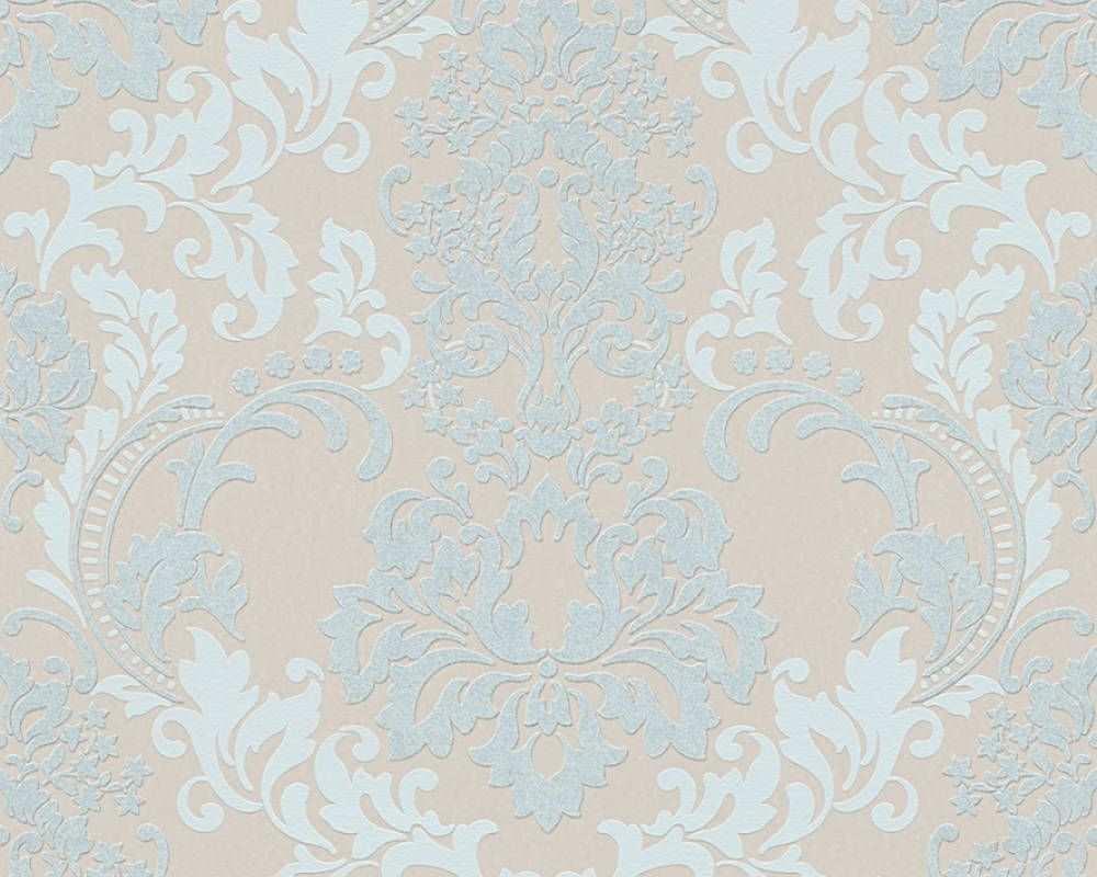 Barock Tapete Auf Hochwertigem Vliestrager Mit Glitzereffekt Blau Beige Mustertapete Tapeten Barock Tapete