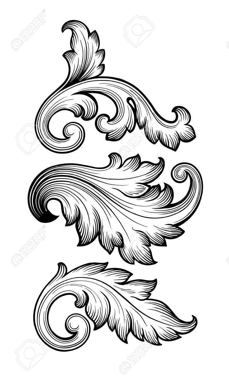 Alte Barocke Blumenrolle Eingestellt Laub Ornament Filigrane Gravur Retro Stil Design Element Vektor Ornamente Vorlagen Filigrane Tatowierung Tattoo Ornamente