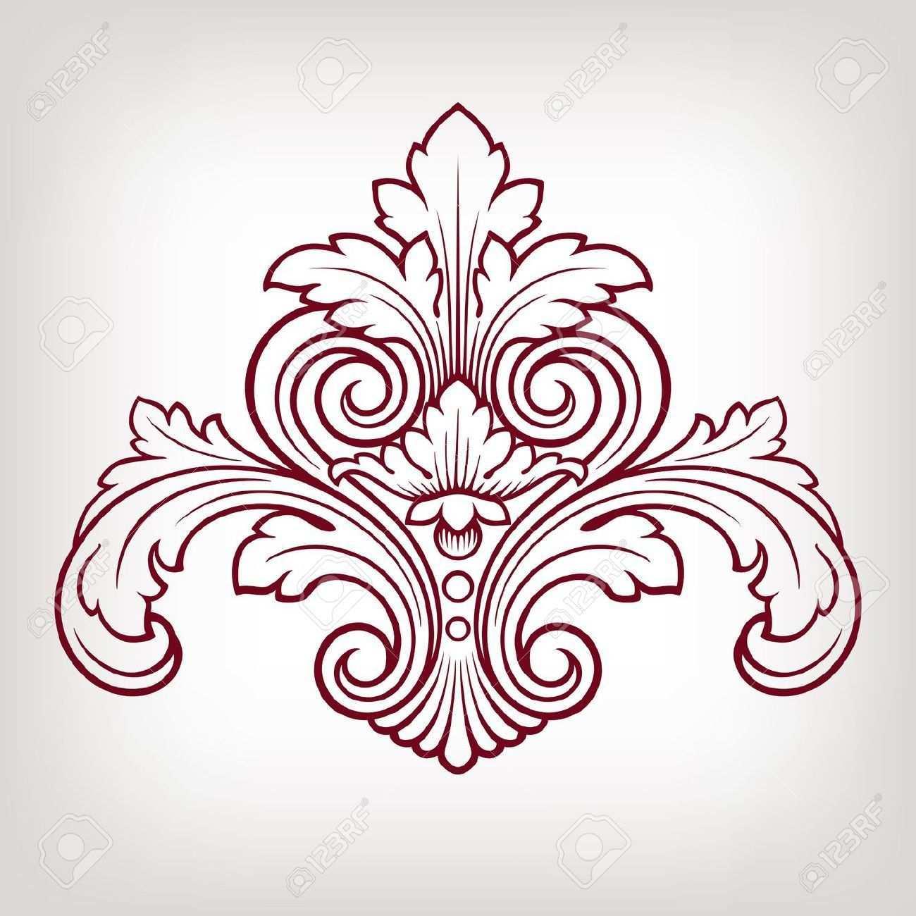 Jahrgang Barock Damastentwurf Rahmen Musterelements Gravur Retro Stil Filigranes Design Ornamente Vorlagen Barock