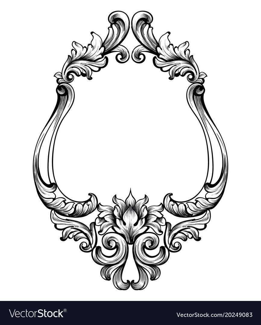 Baroque Frame Decor Vector Detailed Rich Ornament Vector Illustration Graphic Line Art D Rahmen Tattoos Ornamente Uhr Tattoo Vorlagen