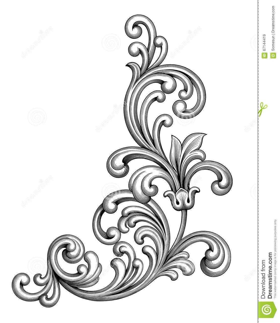 Vintage Baroque Victorian Frame Border Monogram Floral Ornament Scroll Engraved Ornamente Vorlagen Muster Tattoos Muster Blume