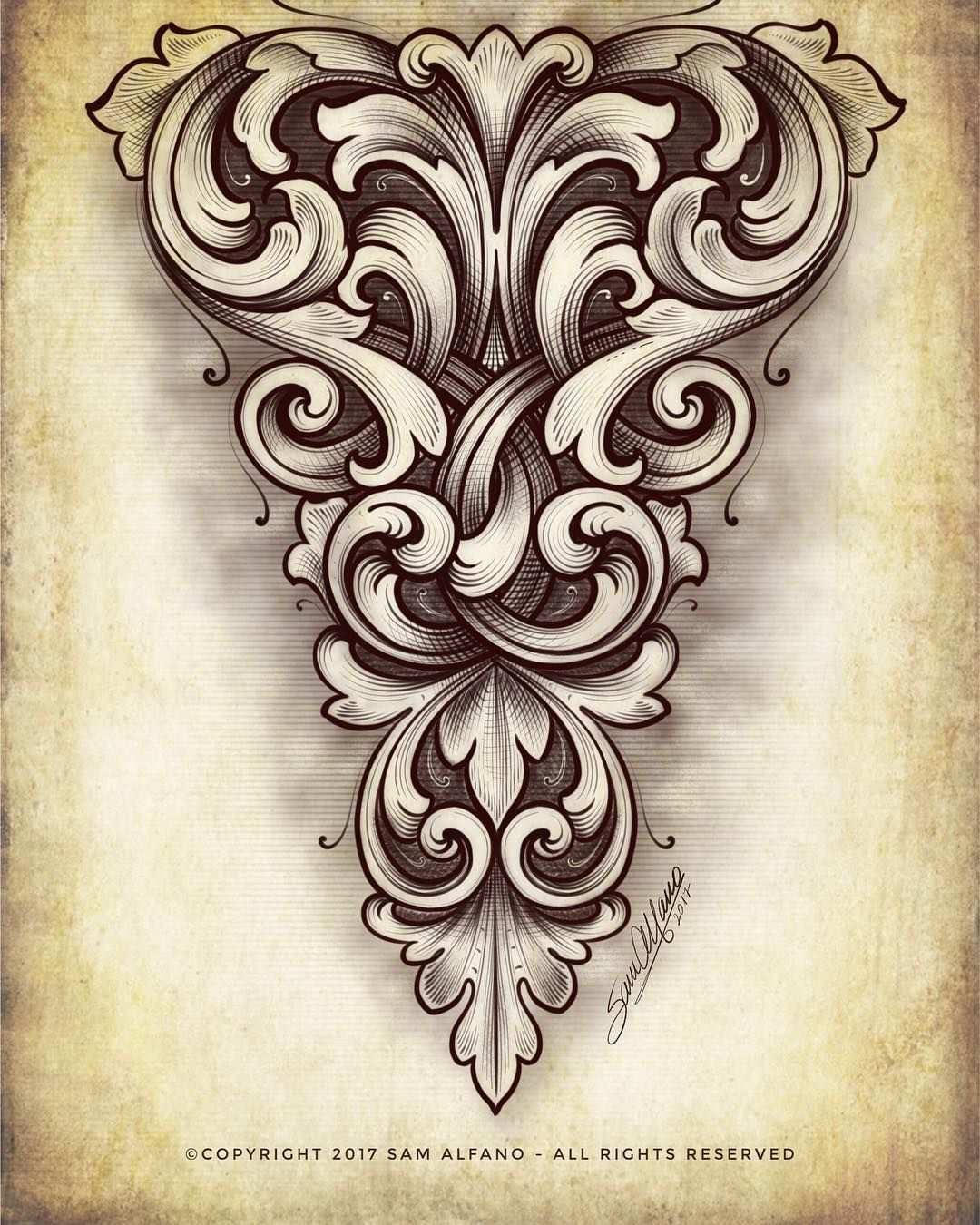 1 502 Likes 15 Comments Sam Alfano Master Engraver On Instagram Intertwined Scrolls Thanks For Follo Filigree Tattoo Wood Tattoo Carving Designs