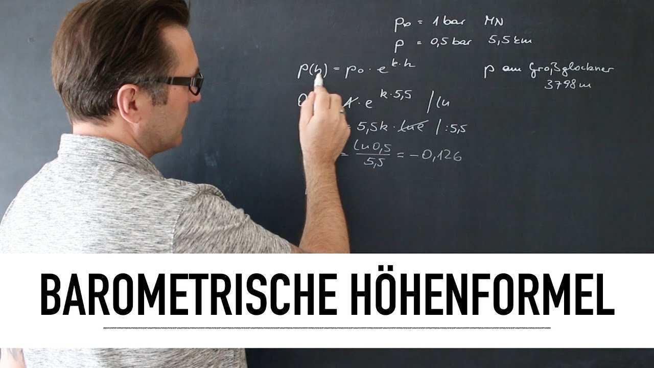 Was Ist Die Barometrische Hohenformel Abnahmefunktion Luftdruck Berechnen Exponentialgleichung Youtube