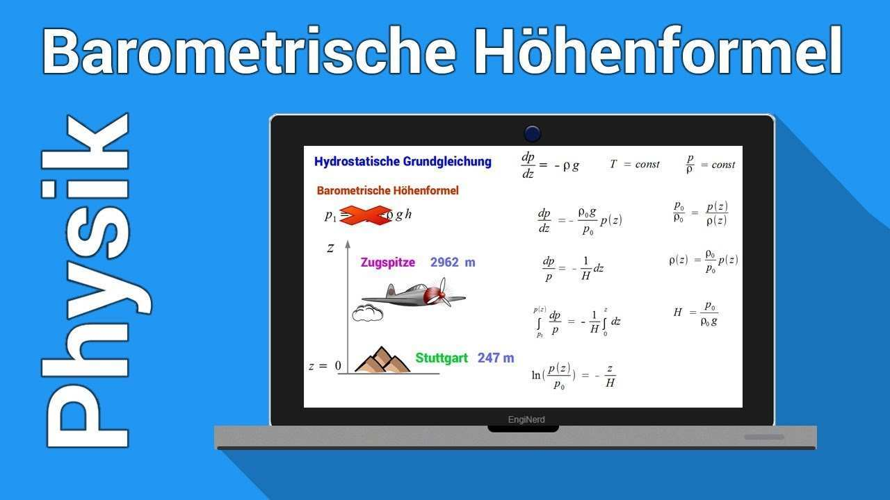 Barometrische Hohenformel Physiknachhilfe Thermodynamik Hydrostatische Grundgleichung Youtube