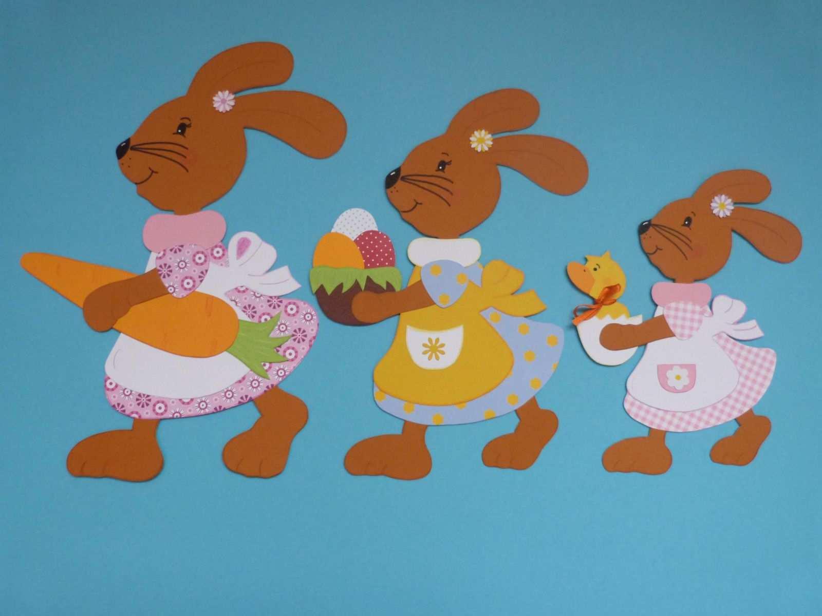 Fensterbilder Tonkarton Frau Hase Mit Ihren Tochtern 3 Tlg Basteln Fruhling Ostern Osterideen Fur Kinder Basteln Fruhling