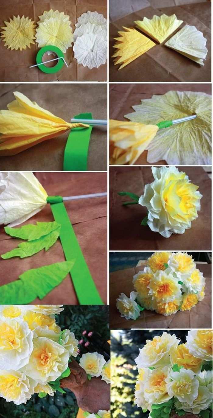 Bastelideen Mit Papier Gelbes Krepppapier Gruner Karton Schere Strohalm Blumenstrauss Blumen Basteln Aus Papier Papierblumen Basteln Blumen Basteln