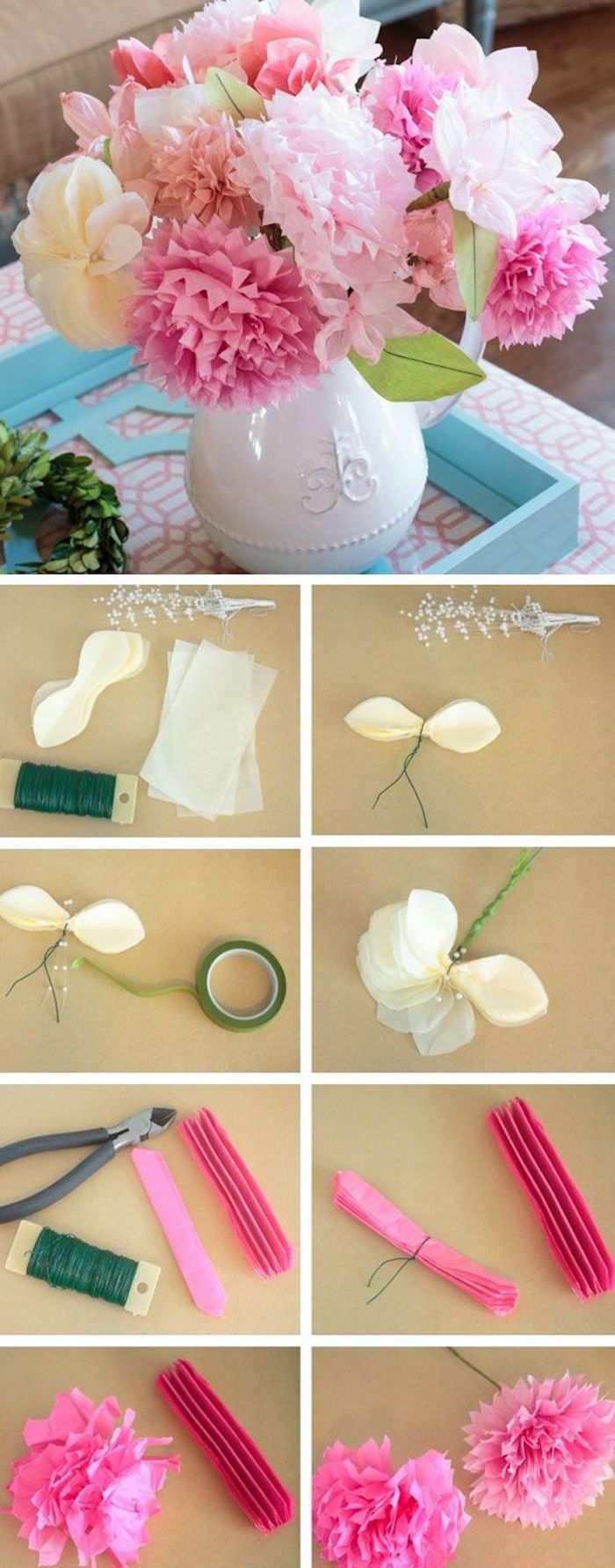 Kreative Idee Blumen Aus Krepppapier Basteln Nie Verwelken Blumen Aus Krepppapier Papierblumen Basteln Blumen Basteln