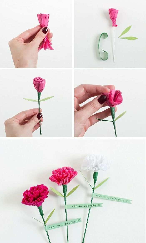 Basteln Mit Krepppapier Nelke Aus Rosa Papier Selber Machen Papiernelke Papierblume Papierblumen Basteln Papierblumen Blumen Aus Papier