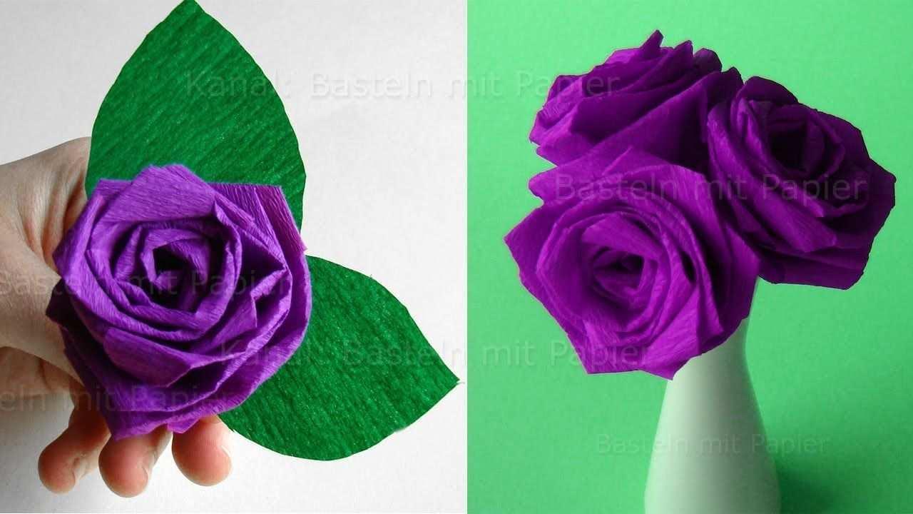 Origami Rose Falten Blumen Basteln Rosen Aus Krepp Papier Falten Di Rosen Basteln Rosen Falten Blumen Basteln