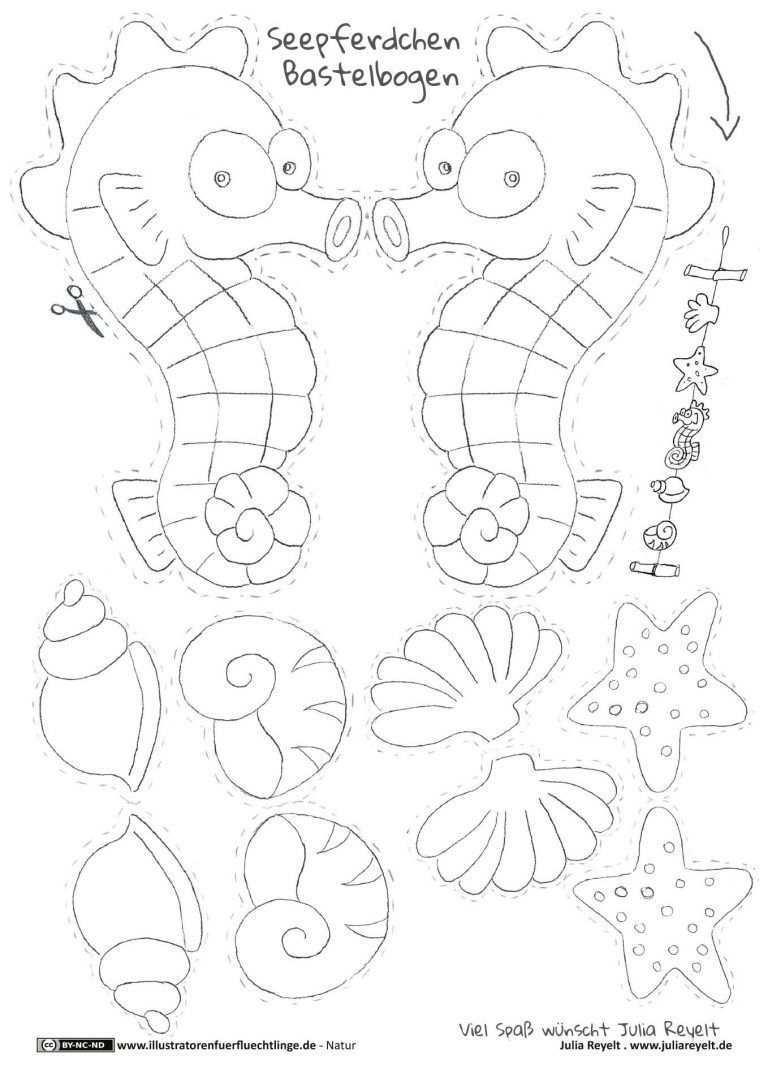 Natur Seepferdchen Muscheln Meer Mobile Handarbeit Blatt Reyelt Natur Seepferdchen Muscheln Meer Mobil Blatt Ha In 2020 Bastelbogen Seepferdchen Basteln