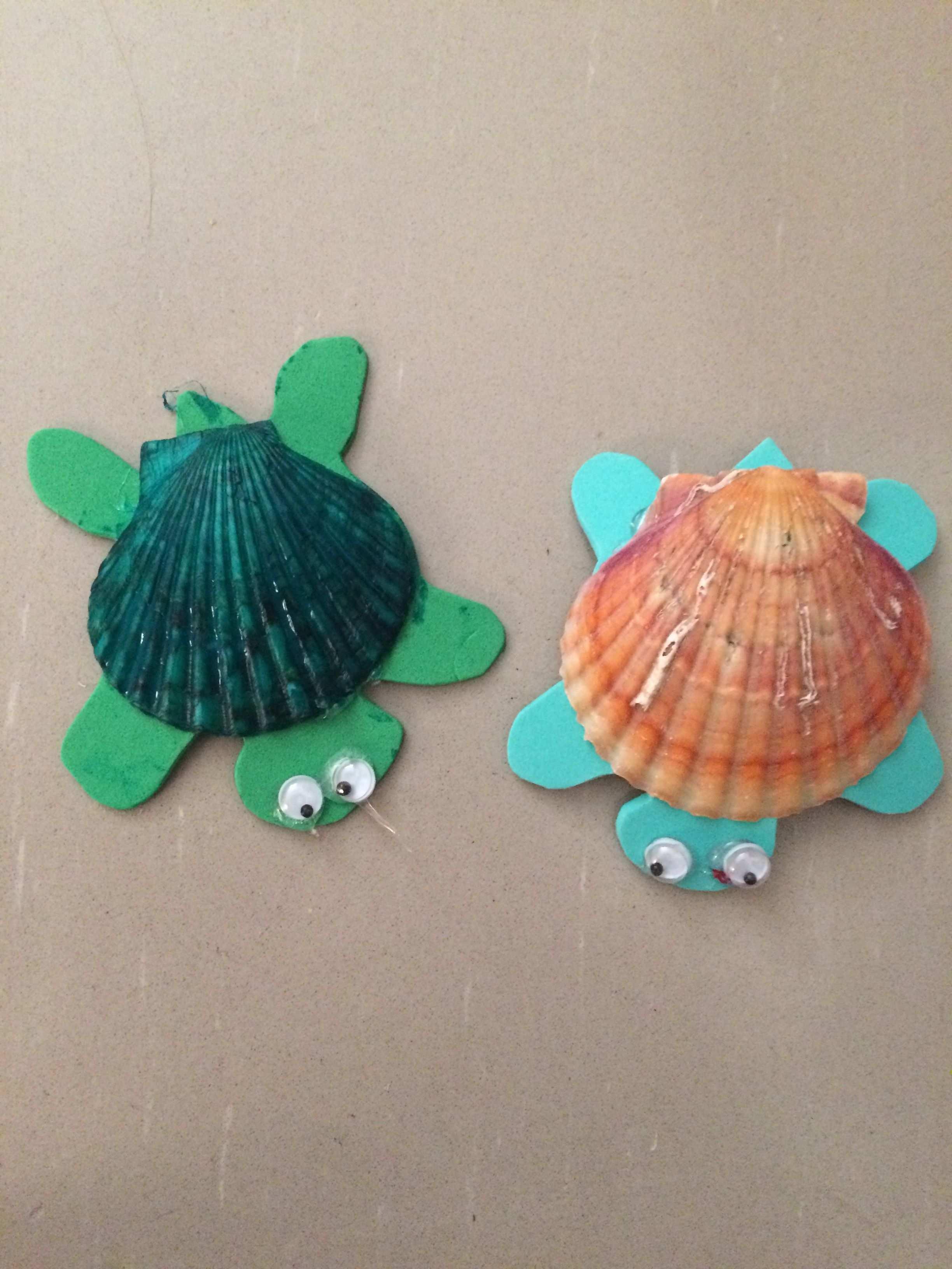 Cute Turtle Craft Made With Sea Shells And Foam Easy For Kids To Make And Fun To Do Muschel Basteleien Kinder Basteln Einfach Basteln Mit Muscheln