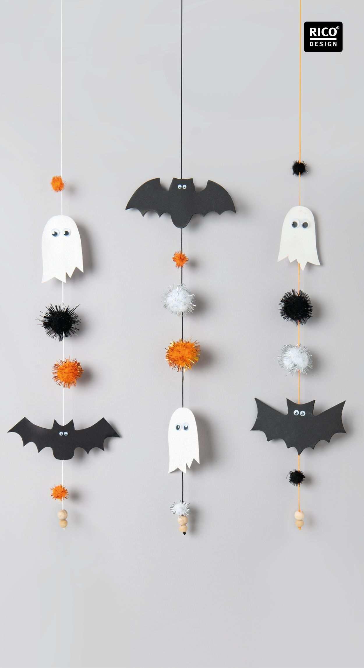 Lustige Halloween Girlande Mit Glitzer Pompons Basteln Halloween Girlande Girlanden Basteln Halloweendeko