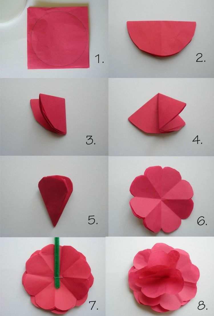 Papierblumen Basteln Kindern Falten Origami Blute Rot Papier Blumen Basteln Aus Papier Papierblumen Basteln Blumen Basteln Mit Kindern
