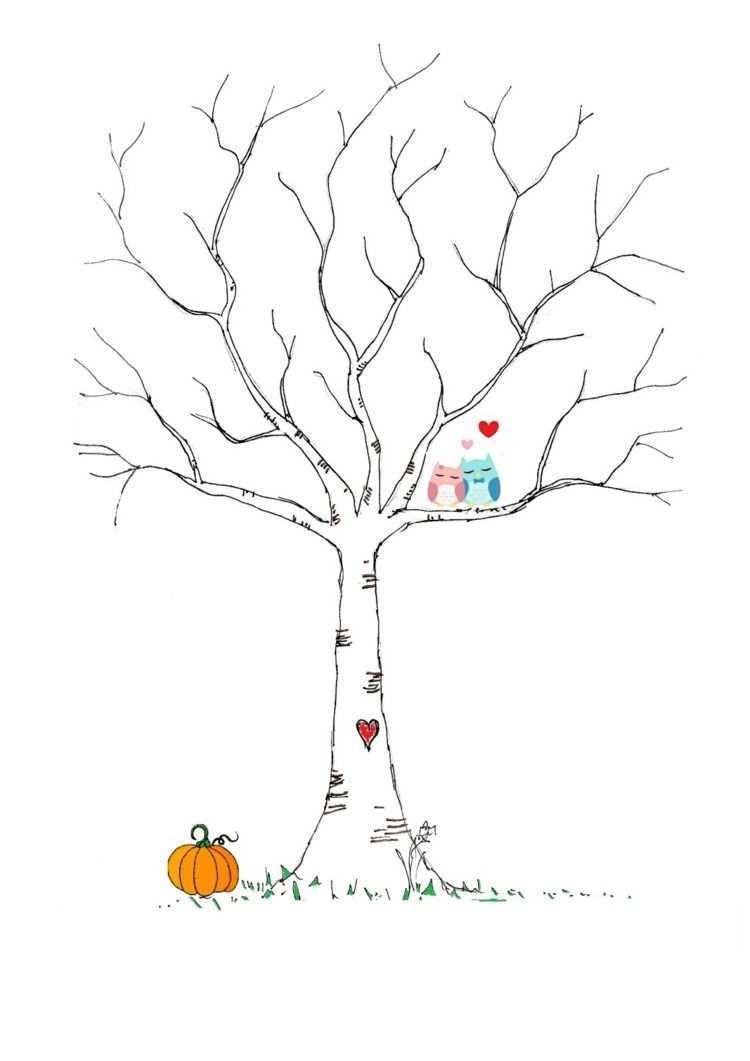 Fingerabdruck Baum Vorlage Birke Farben Eulen Verliebt Kurbis Herz Fingerabdruck Baum Baum Vorlage Fingerabdruck Baum Hochzeit