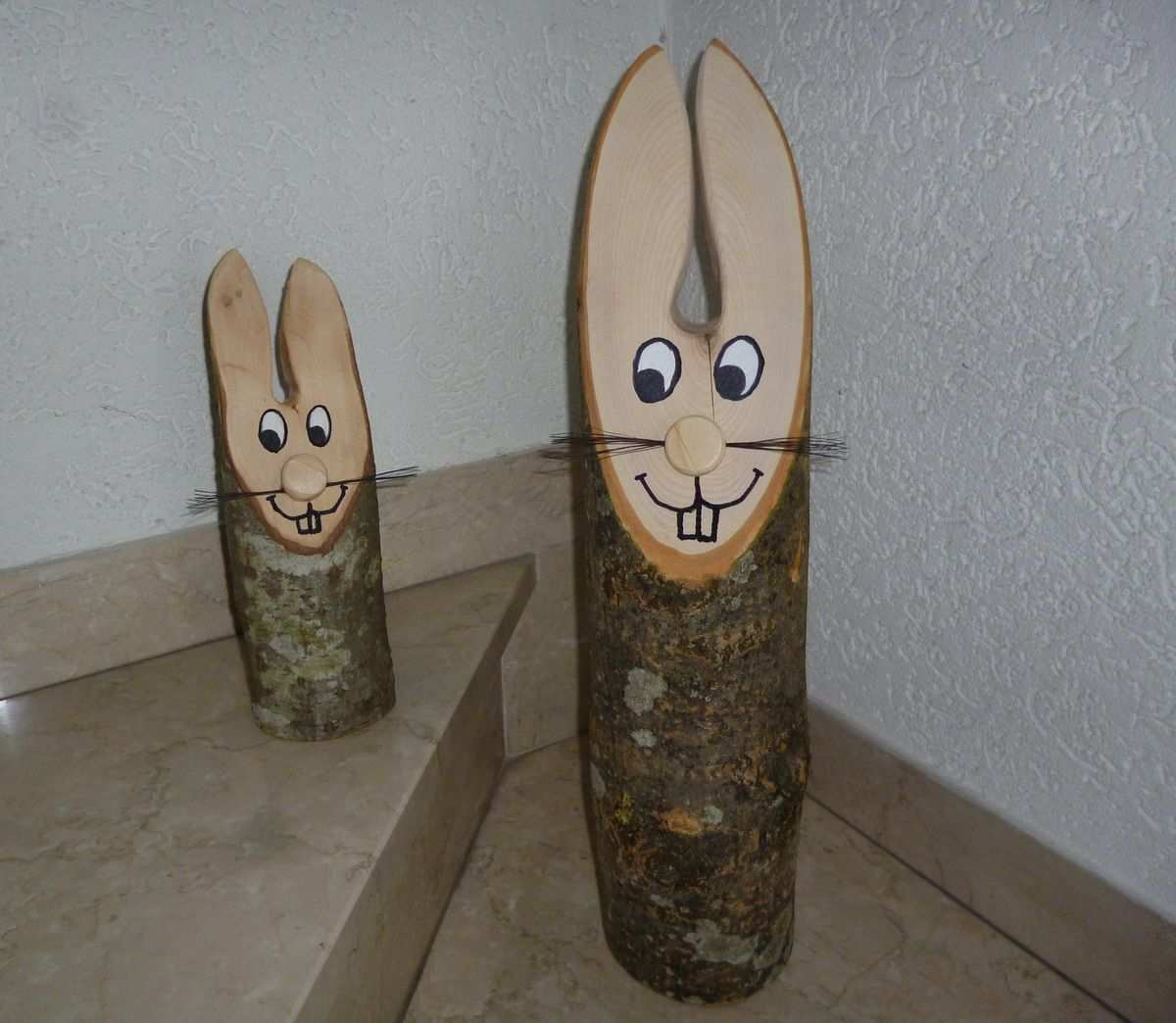 Baumstamm Osterhase Osterhasen Basteln Holz Ostern Basteln Holz Osterhase