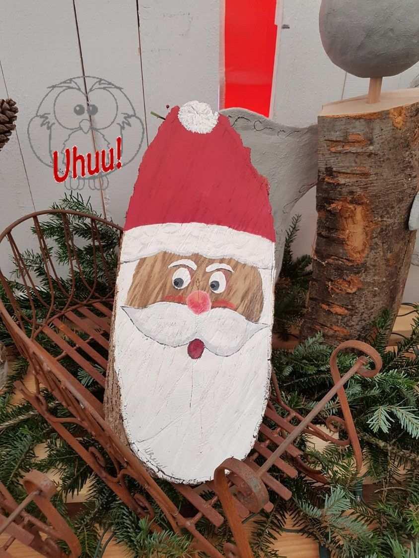 St Nikolaus Aus Rund Holz Gesicht Handgemalt Malen Auf Hol Weihnachten Basteln Mit Kindern Einfach Basteln Weihnachten Kinder Unter 3 Weihnachten Dekoration