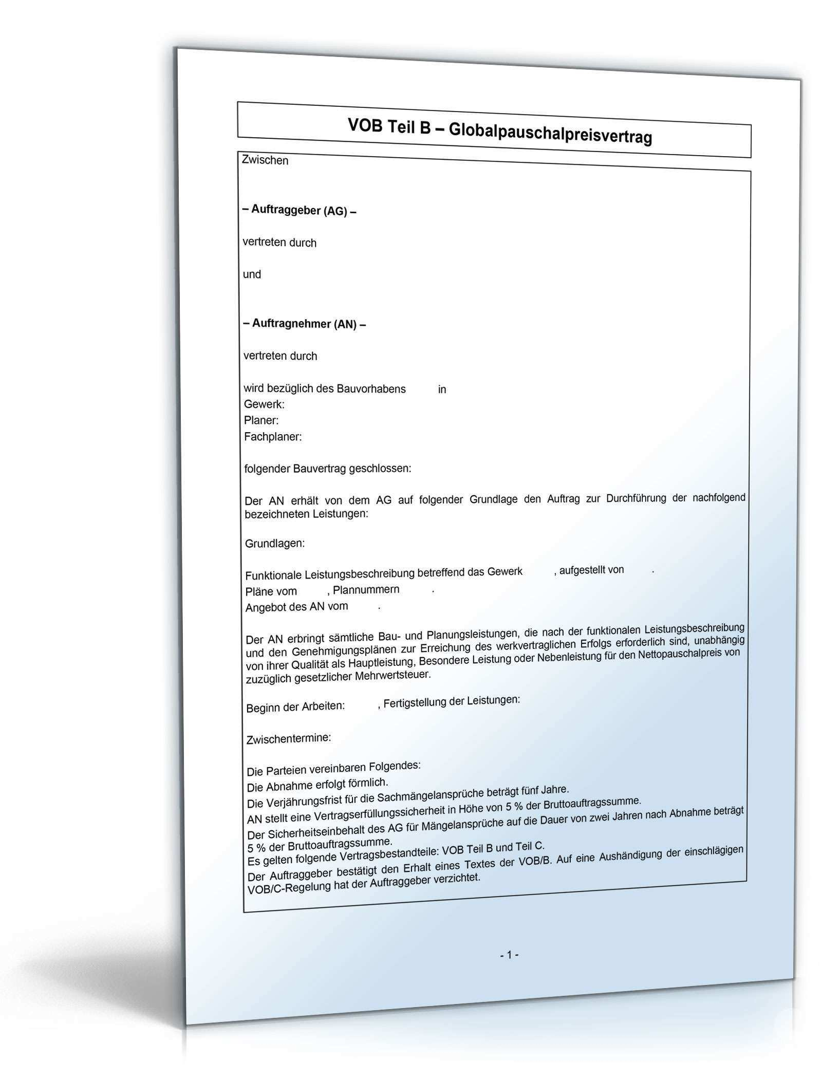 Vob B Bauvertrag Globalpauschalpreisvertrag Vorlage Zum Download