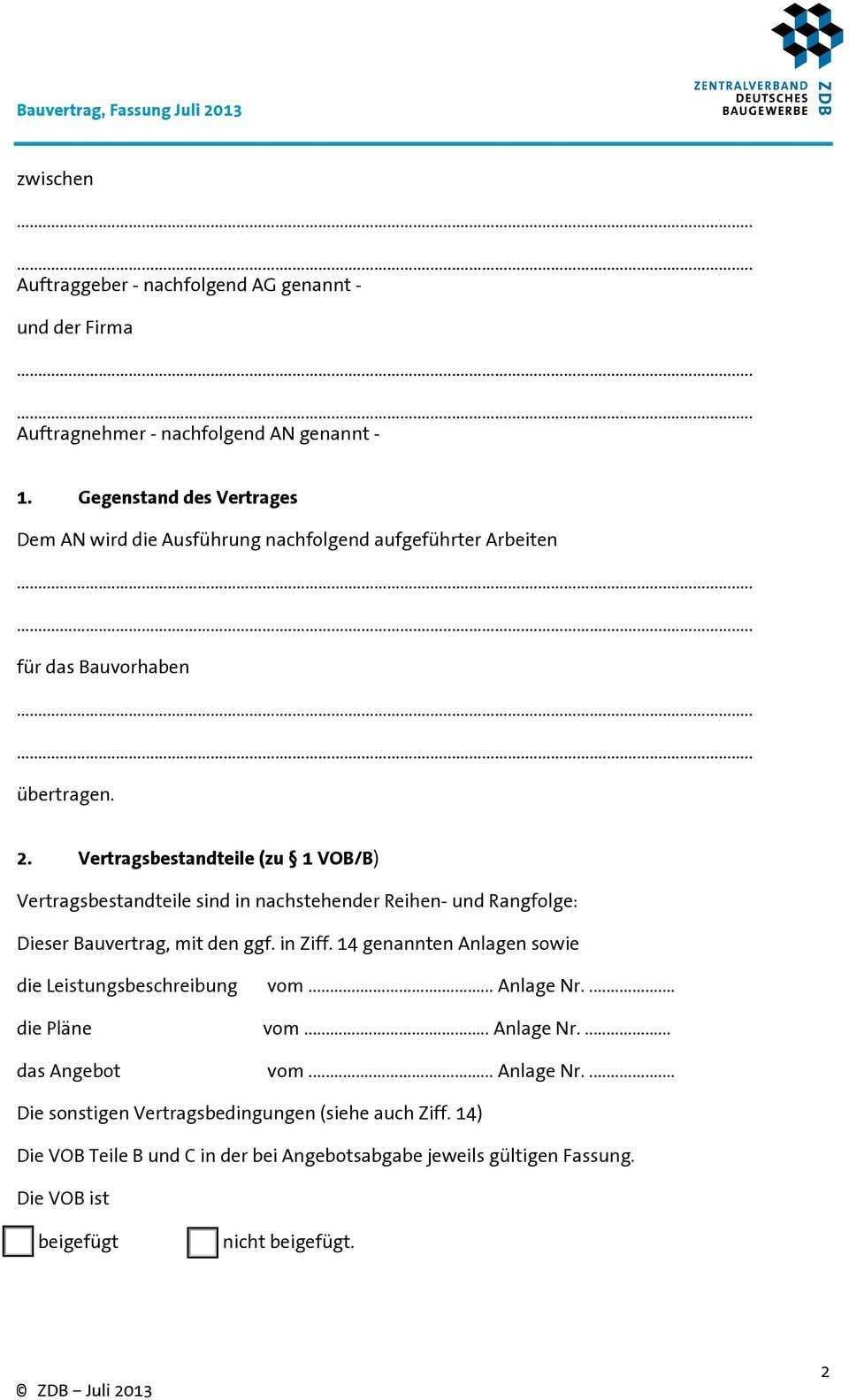 Vob Bauvertrag Zwischen Unternehmern Pdf Free Download