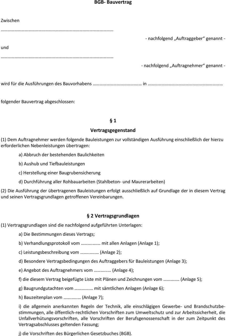 Mustervertrag Bauvertrag Gem Bgb Pauschalpreis Pdf Kostenfreier Download