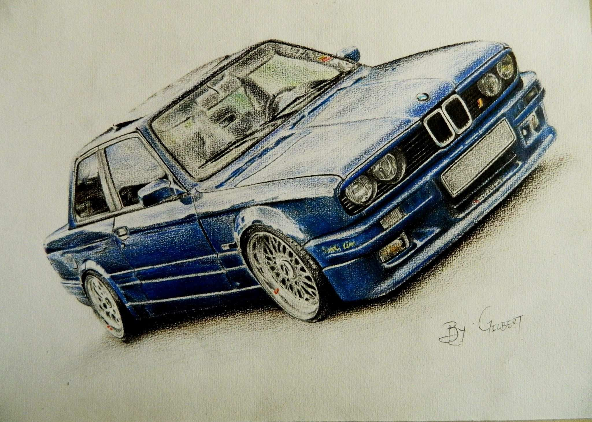 Bmw E30 Colored Pencils Drawing Art By Gilbert Maepa Bmw E 30 Zeichnungen Malen Und Bleistift