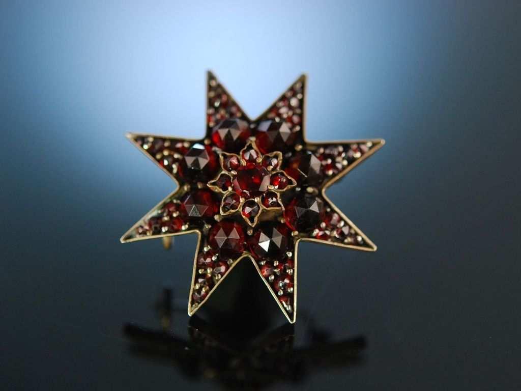 Karfunkel Stern Antike Granat Brosche Vergoldet Bohmen Um 1870 Antique Garnet Star Brooch Historischer Granatschmuck Bei Die Ha Brosche Granatschmuck Granat
