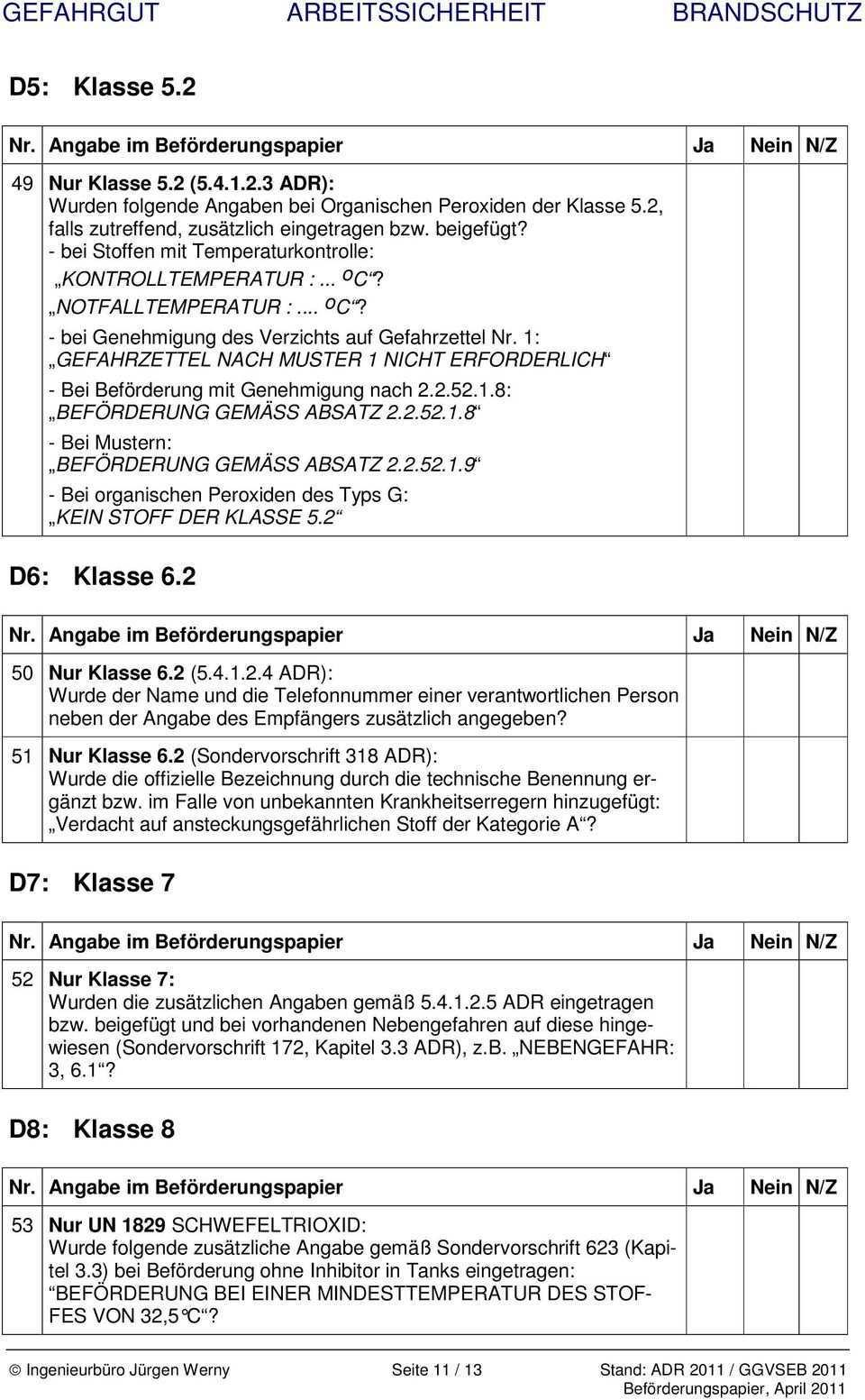 Checkliste Beforderungspapier Nach Ggvseb Adr 2011 Fur Den Strassentransport Gultig Bis Pdf Free Download
