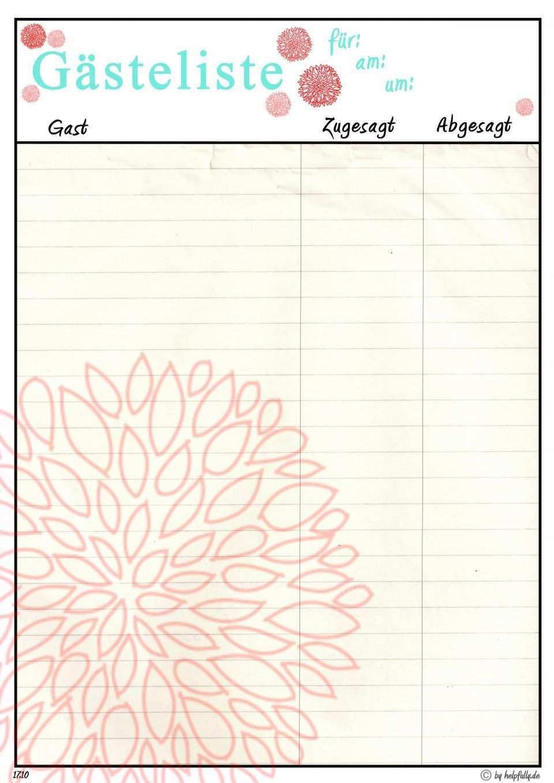 Vorlage Gasteliste Allium Koralle Gasteliste Gast Einladungen