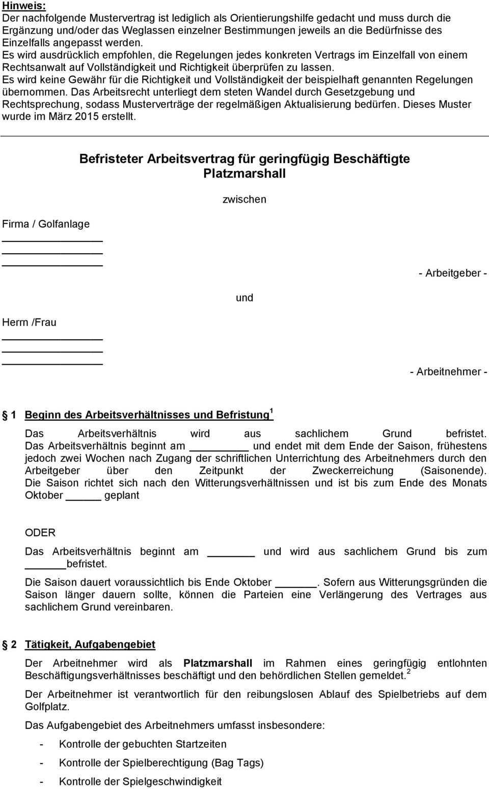 Befristeter Arbeitsvertrag Fur Geringfugig Beschaftigte Platzmarshall Pdf Free Download
