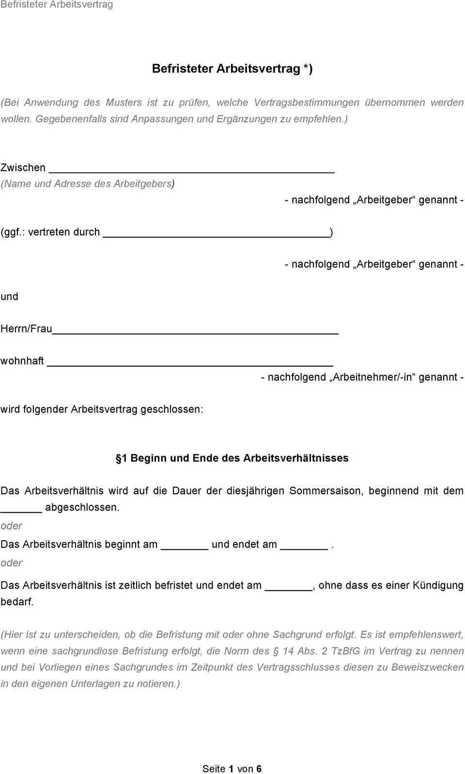 Befristeter Arbeitsvertrag Pdf Kostenfreier Download