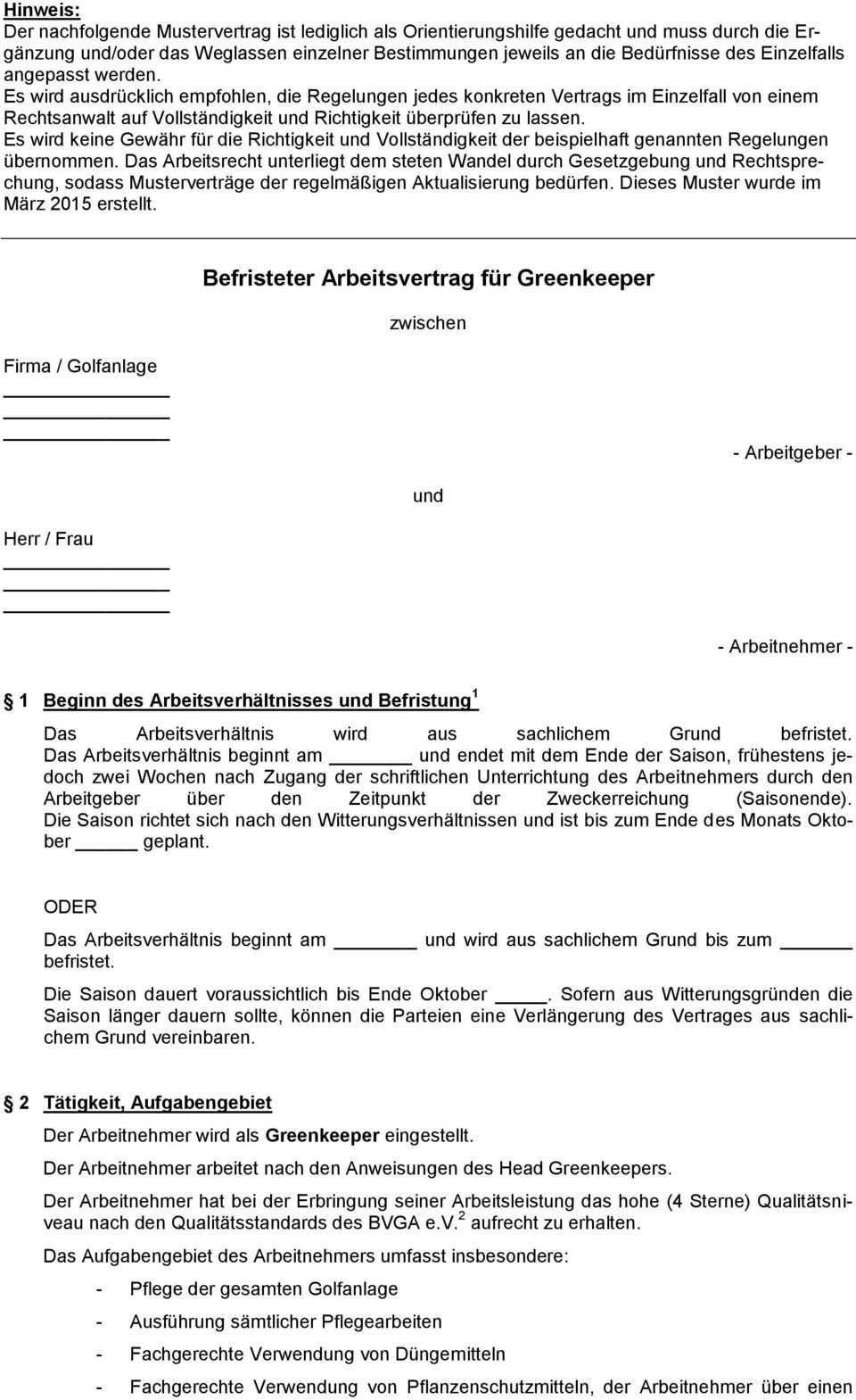 Befristeter Arbeitsvertrag Fur Greenkeeper Pdf Kostenfreier Download