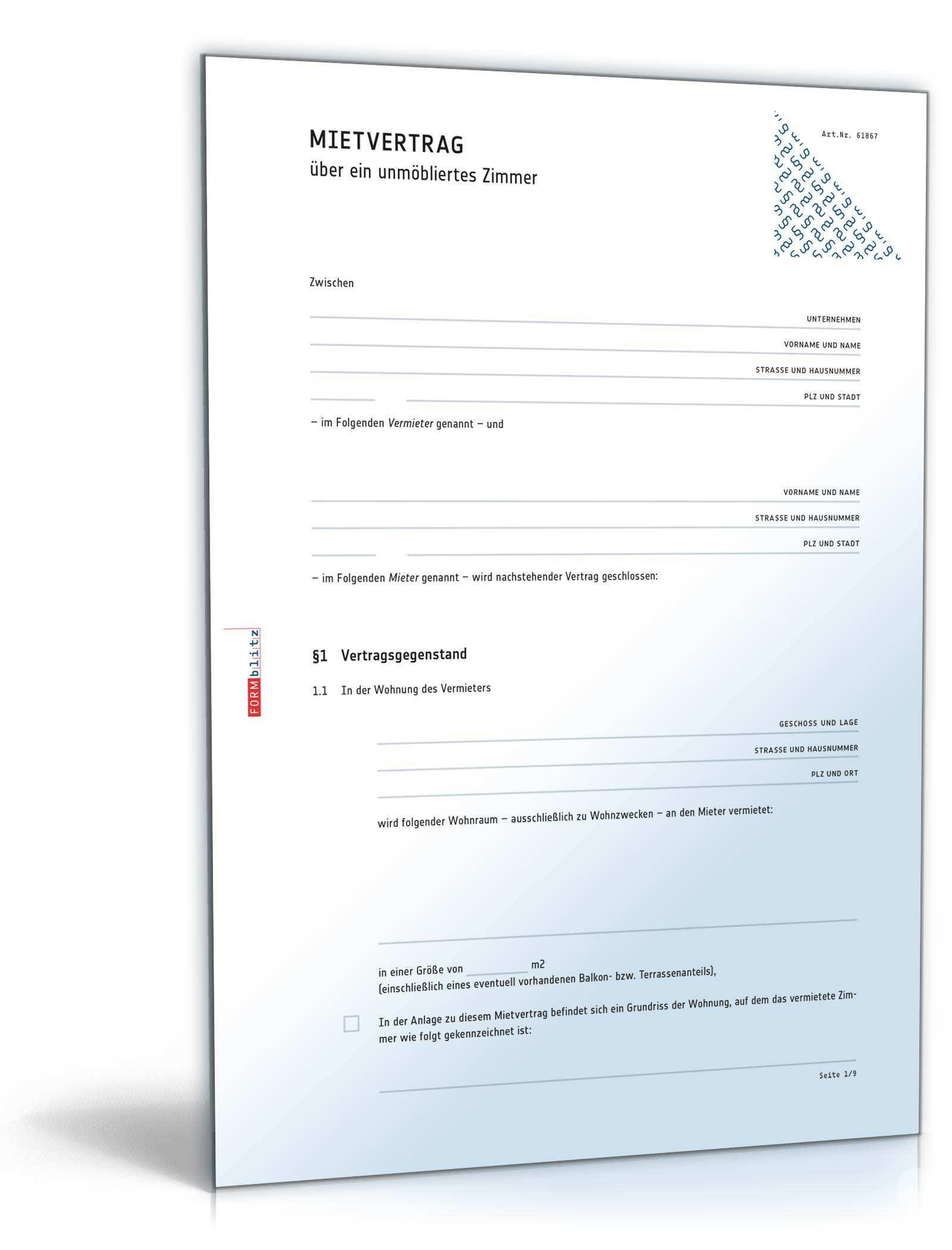 Mietvertrag Unmobliertes Zimmer Muster Zum Download